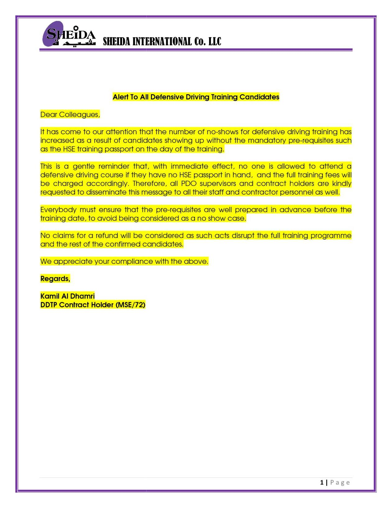Sheida international co llc important notice alert to all dd training candidates 2 sheida international road traffic safety policy xflitez Image collections